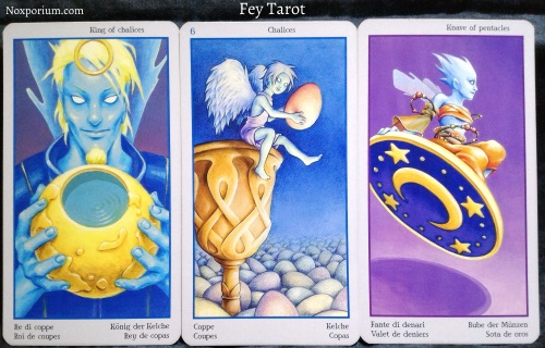 Fey Tarot: King of Chalices, 6 of Chalices, & Knave of Pentacles.