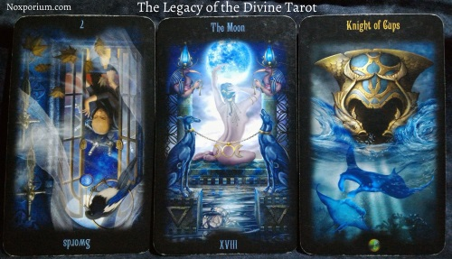 The Legacy of the Divine: 7 of Swords reversed, The Moon, & Knight of Cups.