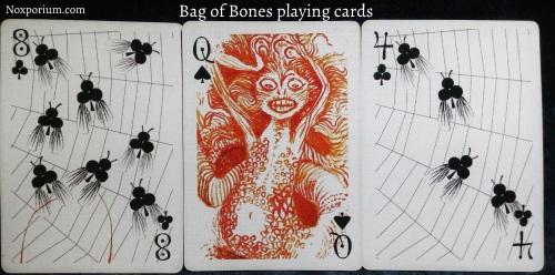 Bag of Bones: 8 of Clubs, Queen of Spades, & 4 of Clubs.