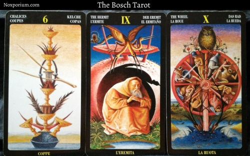 Bosch Tarot: 6 of Chalices, The Hermit, & The Wheel.