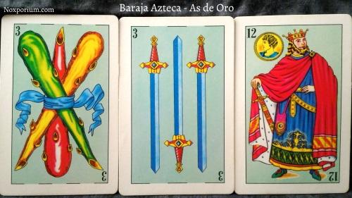 Baraja Azteca - As de Oro: 3 Bastos, 3 Espadas, & 12 Oros.
