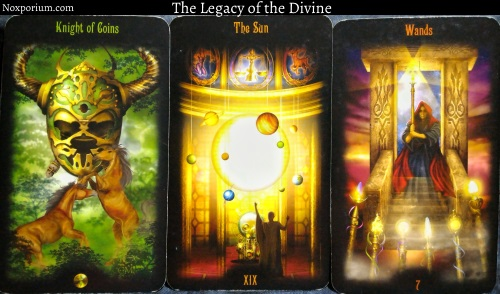The Legacy of the Divine: Knight of Coins, The Sun, & 7 of Wands.