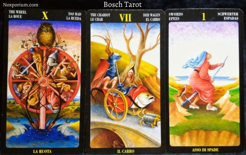 Bosch Tarot: The Wheel, The Chariot, & Ace of Swords.