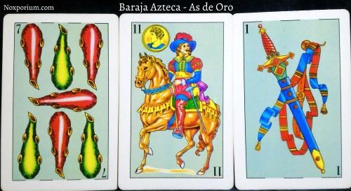 Baraja Azteca - As de Oro: 7 Bastos, 11 Oros, & 1 Espada.