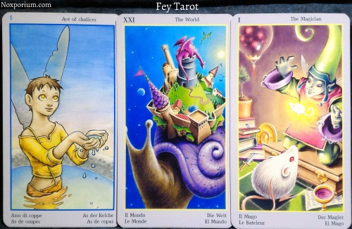Fey Tarot: Ace of Chalices, The World, & The Magician.