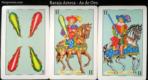 Baraja Azteca - As de Oro: 4 Bastos, 11 Bastos, & 11 Espadas.