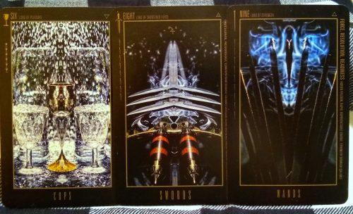 Wyzard of Odd: 6 of Cups, 8 of Swords, & 9 of Wands. ©Bryan Lahr