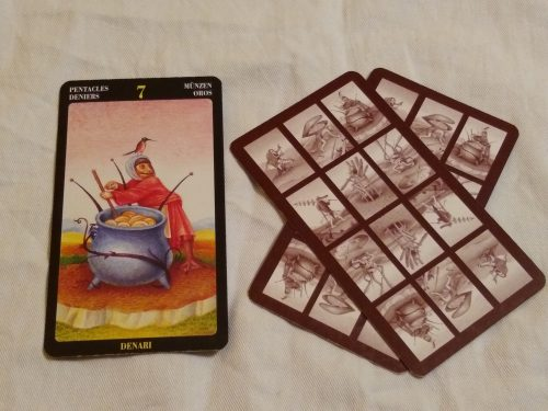 Bosch Tarot: 7 of Pentacles, unknown, & unknown.