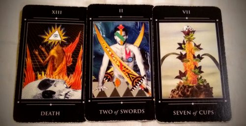 Red Magician Tarot: Death [XIII], Two of Swords, & Seven of Cups.