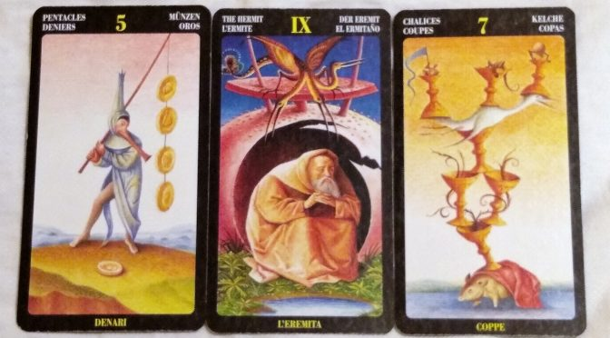 Bosch Tarot: 5 of Pentacles, The Hermit [IX], & 7 of Chalices.