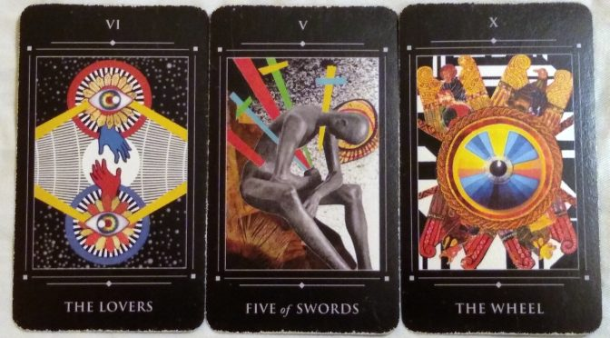 Red Magician Tarot: The Lovers [VI], Five of Swords, & The Wheel [X].