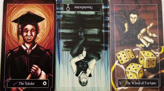 Sweeney Tarot: Page of Coins, 4 of Cups (reversed), & The Wheel of Fortune [X].