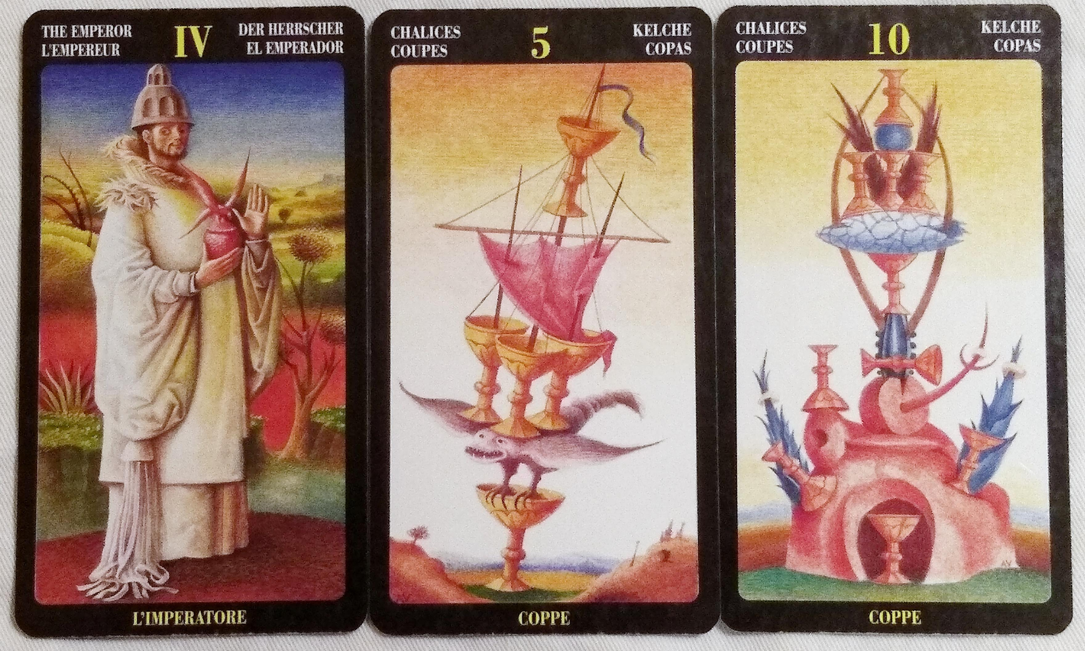 Bosch Tarot: The Emperor [IV], 5 of Chalices, & 10 of Chalices.