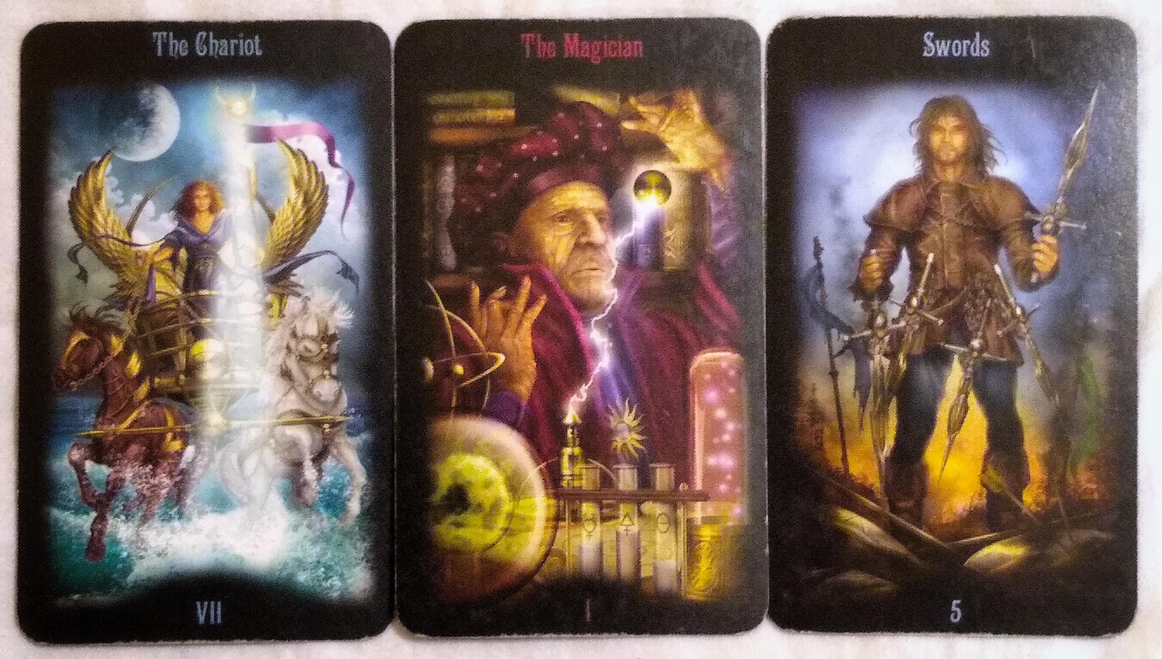 The Legacy of the Divine: The Chariot [VII], The Magician [I], & 5 of Swords.