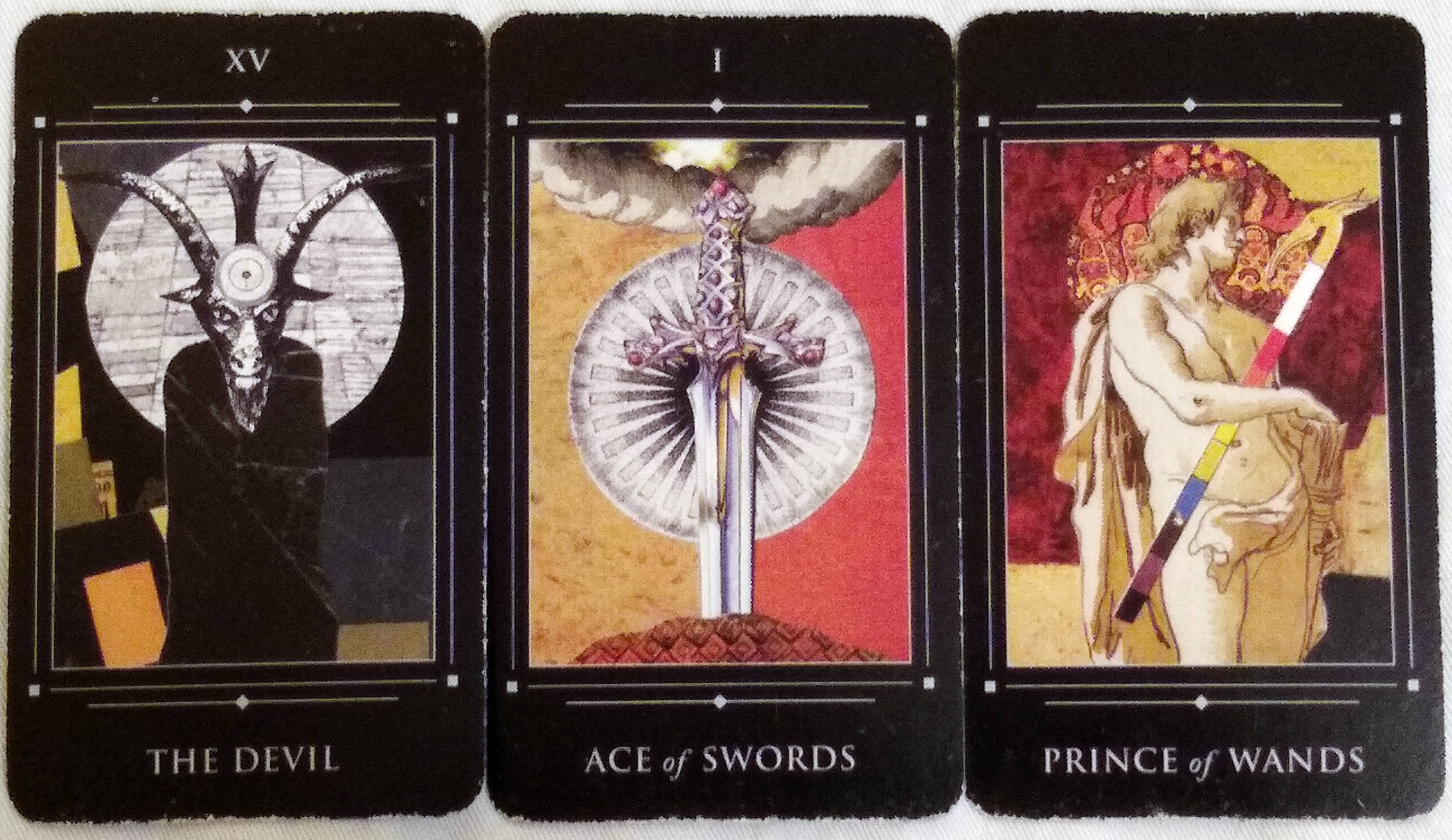 Red Magician: The Devil [XV], Ace of Swords, & Prince of Wands.