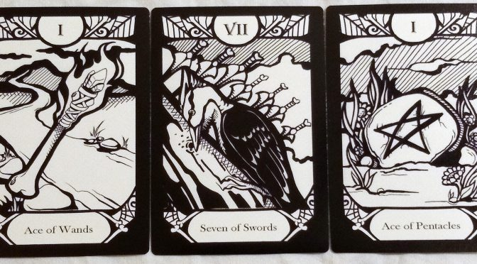 Animalis Os Fortuna: Ace of Wands, Seven of Swords, & Ace of Pentacles.
