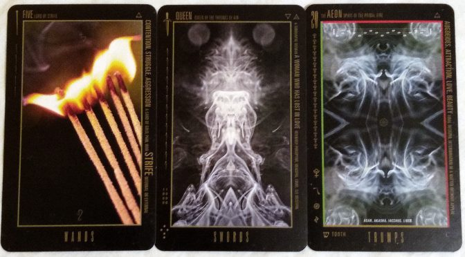 Wyzard of Odd: Five of Wands, Queen of Swords, & The Aeon [XX].