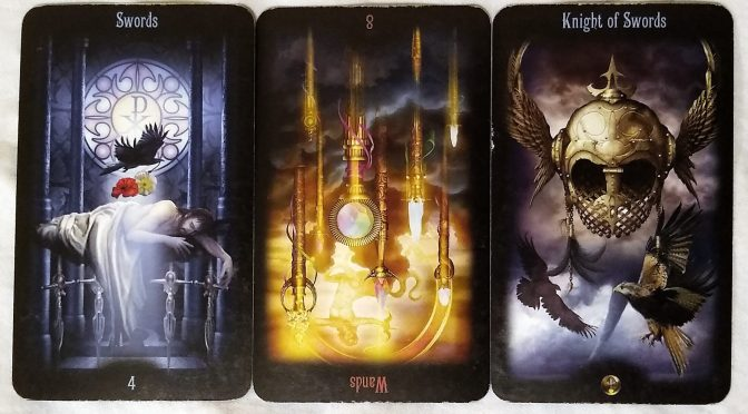 Legacy of the Divine: 4 of Swords, 8 of Wands (reversed), & Knight of Swords.