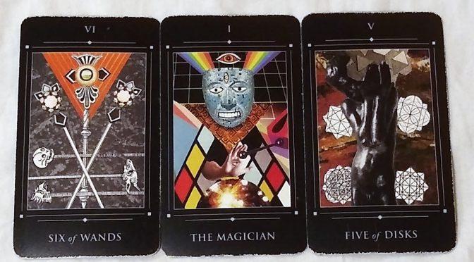 Red Magician Tarot: Six of Wands, The Magician [I], & Five of Disks.