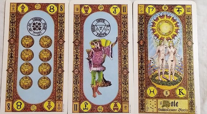 Tavaglione's Stairs of Gold: 8 of Coins, Page of Cups, & The Sun [XIX].