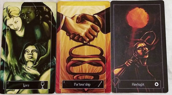Sweeney Tarot: 2 of Cups, 3 of Wands, & 7 of Coins.
