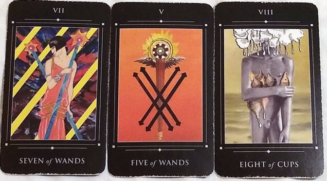 The Red Magician Tarot: Seven of Wands, Five of Wands, & Eight of Cups.