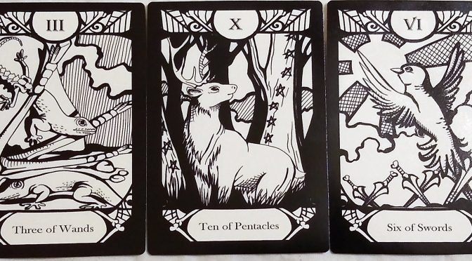 Animalis Os Fortuna: Three of Wands, Ten of Pentacles, & Six of Swords.