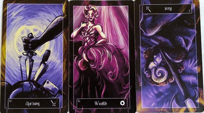 Sweeney Tarot: 10 of Swords, 10 of Coins, & 4 of Swords (reversed).