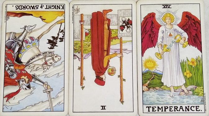 Universal Waite: Knight of Swords (reversed), 2 of Wands (reversed), & Temperance [XIV].