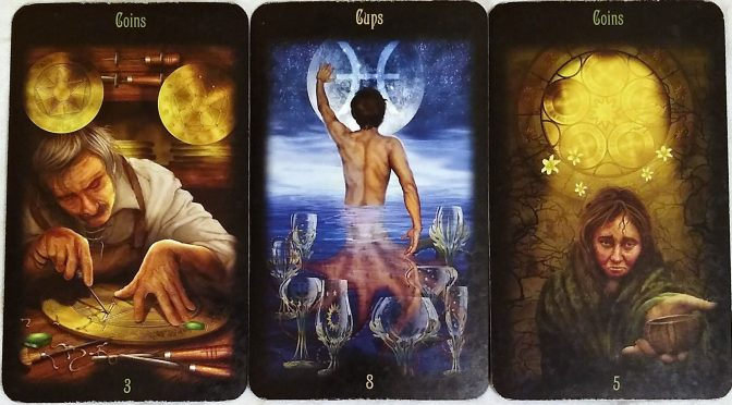 The Legacy of the Divine: 3 of Coins, 8 of Cups, & 5 of Coins.