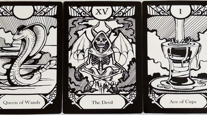 Animalis Os Fortuna: Queen of Wands, The Devil [XV], & Ace of Cups.