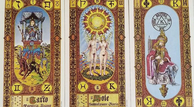Stairs of Gold: The Chariot [VII], The Sun [XIX], & King of Staves.