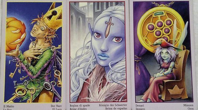 Fey Tarot: The Fool [0], Queen of Swords, & 9 of Pentacles.