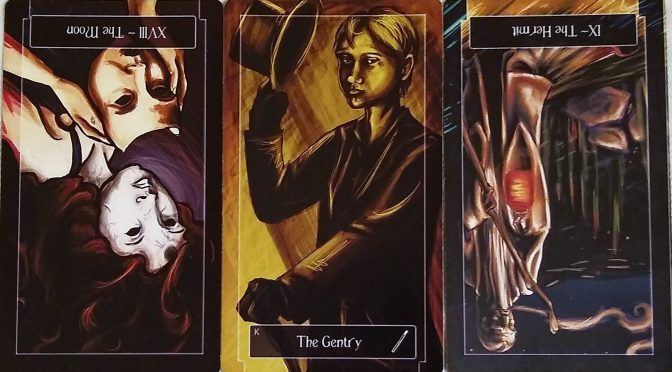 Sweeney Tarot: The Moon [XVIII] (reversed), King of Wands, & The Hermit [IX] (reversed).