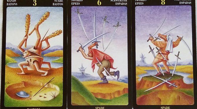 Bosch Tarot: 3 of Wands, 6 of Swords, & 8 of Swords.