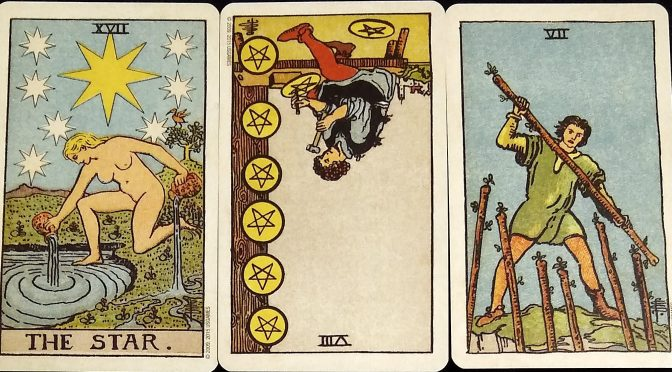 Smith-Waite: The Star, 8 of Pentacles (reversed), & 7 of Wands.