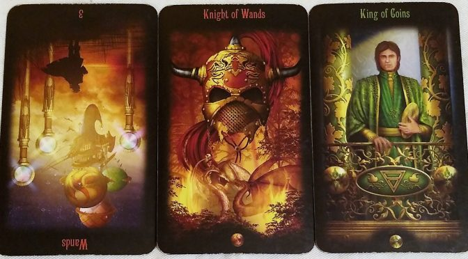Legacy of the Divine: 3 of Wands (reversed), Knight of Wands, & King of Coins.