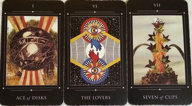 Red Magician Tarot: Ace of Disks, The Lovers, & Seven of Cups.