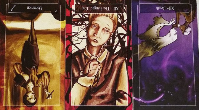 Sweeney Tarot: 2 of Wands (reversed), The Hanged Man [XII] (reversed), & Death [XIII] (reversed).