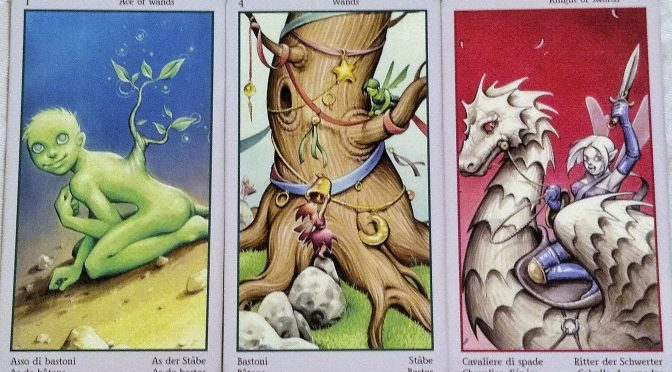 Fey Tarot: Ace of Wands, 4 of Wands, & Knight of Wands.