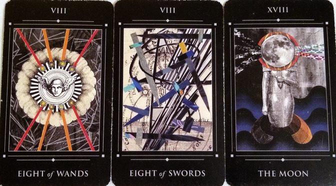Red Magician: Eight of Wands, Eight of Swords, & The Moon [XVIII].