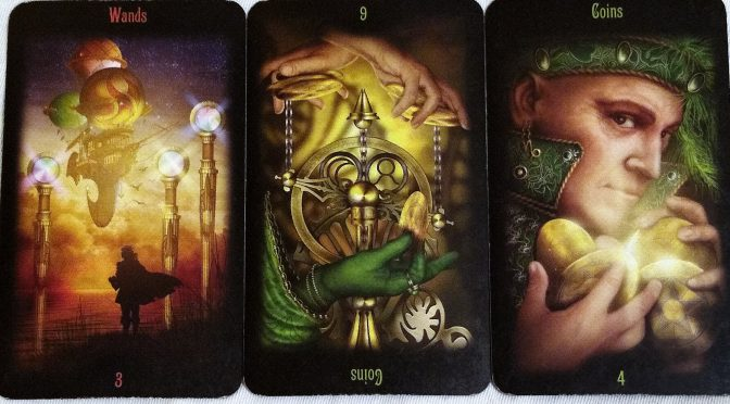 Legacy of the Divine: 3 of Wands, 6 of Coins (reversed), & 4 of Coins.