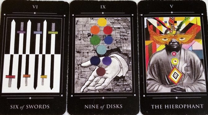 Red Magician: Six of Swords, Nine of Disks, & The Hierophant.