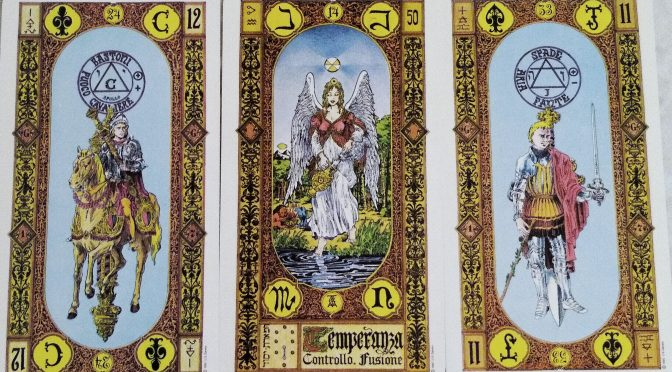 Stairs of Gold: Knight of Staves, Temperance [XIV], & Page of Swords.
