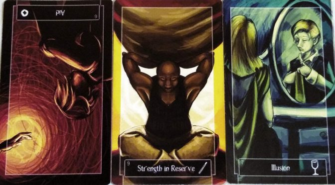 Sweeney Tarot: 6 of Coins (reversed), 9 of Wands, & 7 of Cups.
