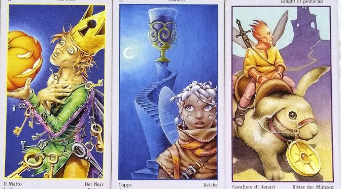 Fey Tarot: The Fool [0], 8 of Chalices, & Knight of Pentacles