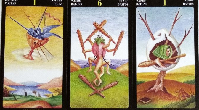 Bosch Tarot: Ace of Chalices, 6 of Wands, & Ace of Wands.