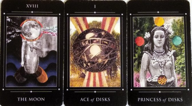 The Red Magician: The Moon [XVIII], Ace of Disks, & Princess of Disks.