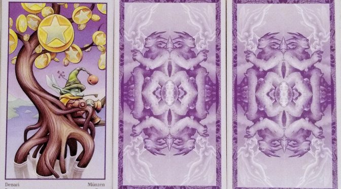 Fey Tarot: 7 of Pentacles, (unknown), & (unknown).