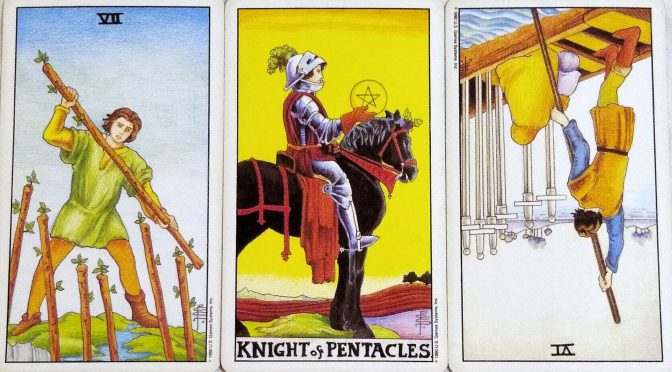Universal Waite: 7 of Wands, Knight of Pentacles, & 6 of Swords (reversed).